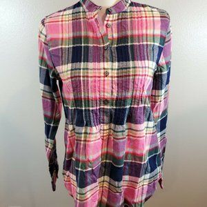 Lands End Size 6 Flannel Shirt Pink Plaid Pleated